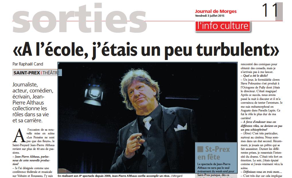 Jean-Pierre Althaus, théâtre Journal de Morges